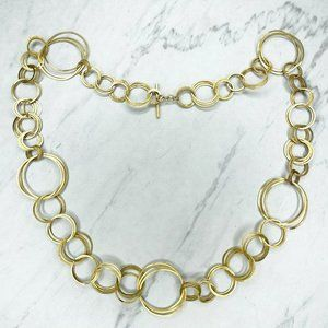 Citrine Brand Gold Tone Open Circle Long Necklace